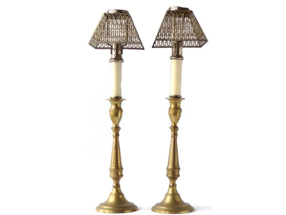 Antique candle holders lamp shades silver plate set of two like this item mozeypictures Image collections