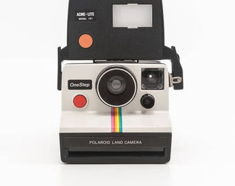 Polaroid OneStep Classic White Rainbow SX70 Instant Camera with ACME-Lite Model 131 Flash - Tested - Working