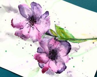 Watercolor painting , Purple Flowers