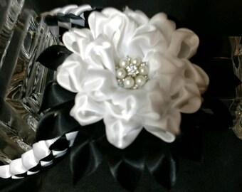 Hair Bun wrap / Black and White Satin Kanzashi Flower Hair Bun Wrap / Wedding Bun Wrap / Kanzashi Bun Wrap