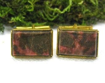 Vintage cufflinks with rhodonite gemstone made in Russia