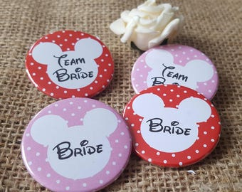 Quirky Heart Colourful Disney mickey minnie polka dots Bridal Shower/ Hen Party /  Hen Do Badges