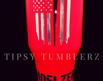 Fire fighter American flag stainless steel tumbler cup fire fighter yeti fire fighter cup fire fighter ozark American flag yeti barbwire cup