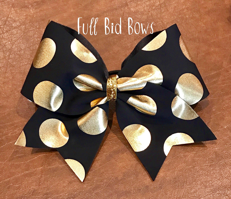 Cheer Bow  Black With Gold Polka Dots