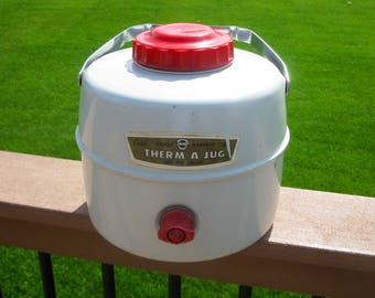 Knapp  and Monarch Therma-a-Jug- Metal - Red and Beige- Collectible- man cave- retro- vintage- water jug- Tailgating- Cabin- Picnic-  1950's