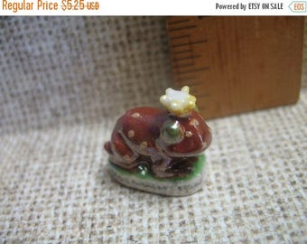 SALE Tiny FROG PRINCE Iridescent - French Feve Feves Figurine Fairy Tale Miniature K70