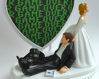 Wedding Cake Topper Game Over Video Gamer Player Fan Themed Bride Dragging Groom Drags Humorous Funny Unique Fun Heart w/ Garter Controller
