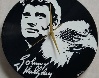 Personalized wall clock on vinyl 30cm diameter Johnny Hallyday portrait pop art painted by hand