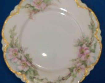1909 hand painted Plate Pink Roses, Havilland France
