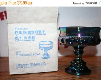 "Sale Iridescent Carnival Glass #2893 5"" Wedding Bowl Indiana Glass"