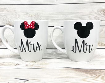 Coffee Mugs set of 2- Mr. and Mrs. his and hers Mickey and Minnie mouse  Couples Wedding gift  Disney Inspired