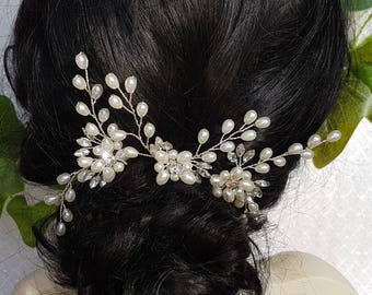 Pearl and Crystal Bridal Hairpins set of 3