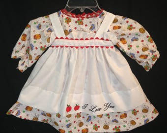 Dress and Apron for 30 inch Raggedy Ann Doll;White dress with apples,embroidered apron, Raggedy Ann clothes