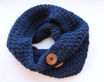 navy button scarf, navy button cowl scarf, navy crochet scarf, navy wool scarf, navy knit scarf, crochet scarf, knit scarf, winter scarf