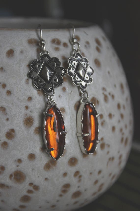 Smoke and Mirrors//Amber and Silver Drop Earrings//Repousse-Hand Stamping//Sterling Silver//Sterling Silver Ear Wires
