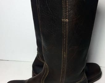 Frye 77050 Campus Brown Leather Motorcycle Riding Biking Boots Women's Size 8.5