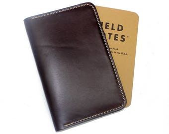 Personalized leather field notes cover, field notes case, leather journal cover, notebook cover, Wickett and Craig bridle