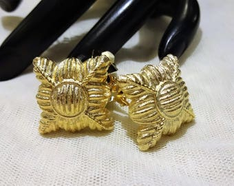 Vintage Givenchy Textured Quilted Gold Tone Earrings