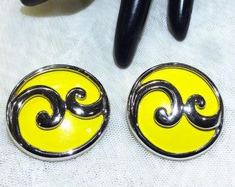Very Nice Vintage Yellow Enamel Earrings