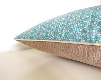 "Cushion cover "" Small graphic blue flowers, brown back and golden piping  """