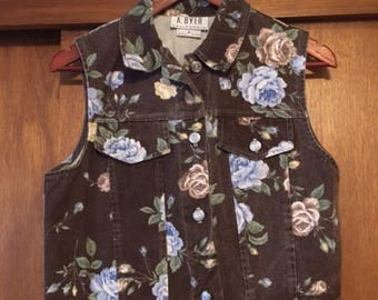 Vintage Women's A. Byer Brown Floral Denim Vest Medium 90s