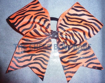 Zebra Cheer Bow, Coral Orange & Black, Glitter, FREE Ship, School, Competitive, Softball, Volleyball, Competition Bows, Cheerleader Gift