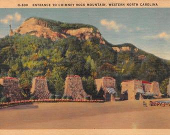 Vintage Postcard Entrance to Chimney Rock Mountain Western North Carolina Unused