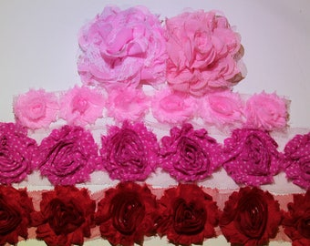 Pink & Red Valentine's Day Shabby Chiffon Flowers for Headband, Hair Clip, Scrapbooking, Embellishment DIY Supplies