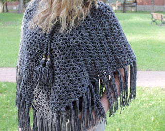 Fringed Poncho - Poncho with Tassels - Knit Poncho - V Neck Poncho - Pom Pom Poncho - Crochet Poncho - Women's Poncho - Summer Sweater