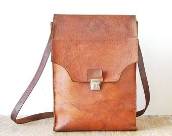 Vintage Brown Leather Mens Handbag, 70s Messenger Leather Bag, Cross Body Brown Men's Bag, Old Shoulder Bag
