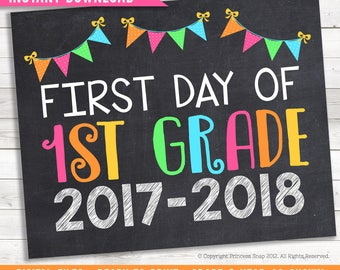"""First Day of First Grade, 2017-2018, School Photo Prop, Pink Rainbow 1st Grade, 1st Day School, First Day Preschool, Printable Sign, 8""""x10"""""""