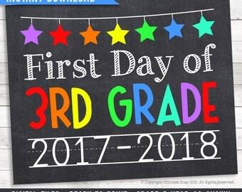 "First Day of 3rd Grade, 2017-2018, Third Grade Photo Prop, Rainbow 3rd Grade, 1st Day School, First Day 3rd, Printable Sign, 8""x10"""