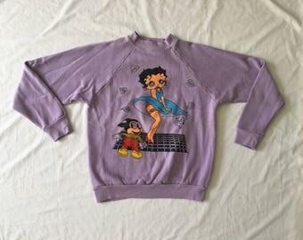 Vintage 1980's Lavender Betty Boop Sweatshirt