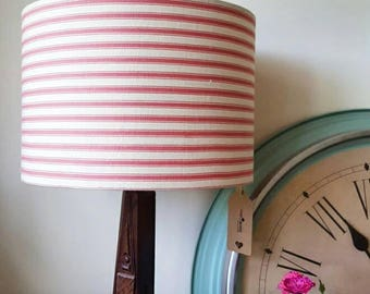 Red Stripey Lampshade, stripes, Drum Lampshade, Lamp, Bedside Lamp,  Bedroom, French Ticking, red and white, geometric, lines, shabby chic