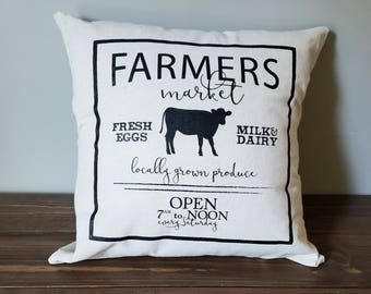 farmers market farmhouse pillow cover. rustic decor. farmhouse decor. accent pillow.