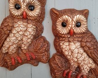 Pair of 70s Owl Wall Hangings Decor Twin Peaks Retro Mod Boho Hippie
