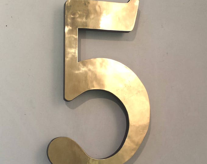 "Architectural Brass Serif floating 3D numbers  4""/100mm high  in Garamond font, marine laquered"