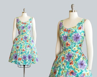 Vintage 1950s Dress | 50s Floral Watercolor Print Cotton Sundress Pleated Full Skirt Day Dress (medium)