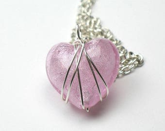 Pink Heart Necklace Gift for Mom with Silver Chain and Wire Wrapped Pendant / Anniversary Gift / Best Friend Gift /  Girlfriend Present