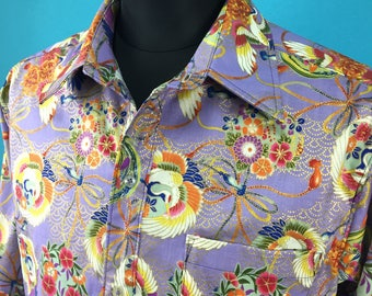 Cotton shirt, yukata, long sleeved, Men, US size M