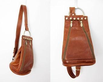 Vintage Bag // Sabina Brown Leather Shoulder Bag