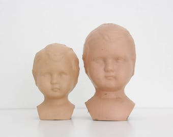 2x Vintage Doll Head // German Antique Head and Shoulders Dolls // Set of two
