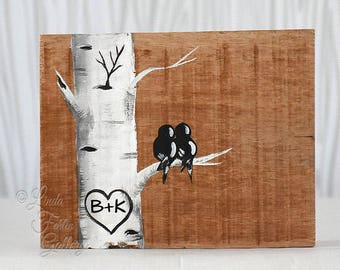 Rustic Wood Sign Reclaimed Wood Art  Love Bird Painting Aspen Tree Painting Initials 5th Anniversary Gift Custom Wedding Gift for Couple
