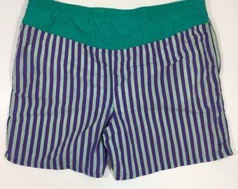 90's Swim Trunks - size L 36 38 - Vintage Swim Trunks - Men's Vintage Swim Suit - 90's Swim Trunks - Vintage Beach - 90's Trunks - Striped