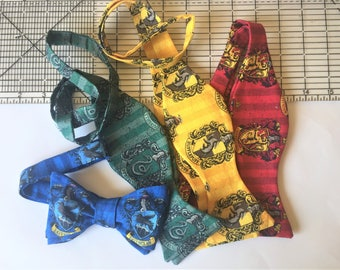 Harry Potter Bow Ties, Hogwarts, Gryffindor, Slytherin, Hufflepuff, Ravenclaw