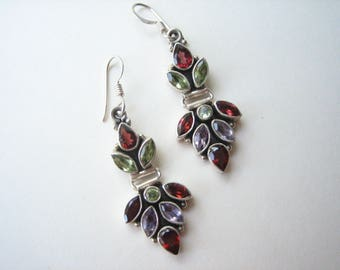 Sterling silver multi gemstone earrings, garnet earrings, peridot earrings, amethyst earrings, multigem earrings, gemstone, semi precious