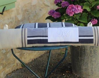 large bottom door ticking cushion old Monogram handmade length 86cm / 19cm
