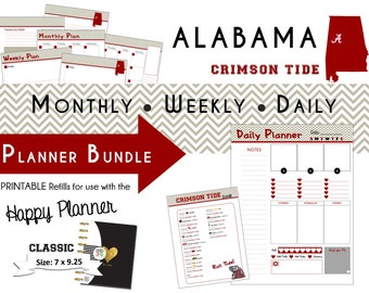 Happy Planner: COLLEGIATE Planner Bundle - Printable PDF - 7 x 9.25  Alabama Crimson Tide SEC Football mambi | Create365 | me & my Big Ideas