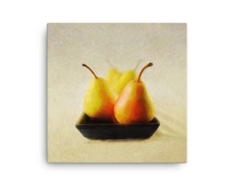 Pears in a Dish Fine Art Print on Canvas