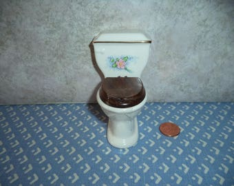 1:12 scale Dollhouse miniature toilet white w/pink and lavender flowers